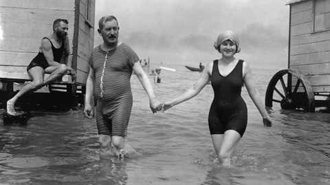 Circa 1911: Bathers at Ostend in Belgium. (F J Mortimer/Getty Images)