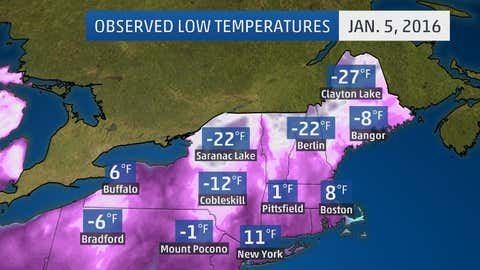 Observed low temperatures at selected locations in the Northeast on Tuesday, Jan. 5, 2016.