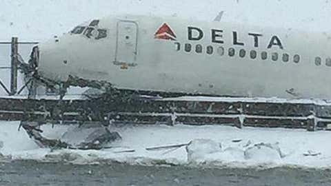 An airplane slid off a runway at New York City's LaGuardia Airport on Thursday, March 5, 2015 during Winter Storm Thor. There were no reports of serious injuries. (Twitter/@NYPDSpecialops)