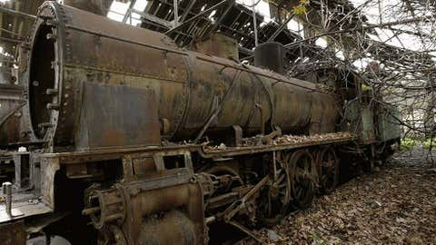 Rusted locomotives are seen at the defunct Tripoli railway station in Lebanon, on Jan. 11, 2010. (Joseph Eid/AFP/Getty Images)