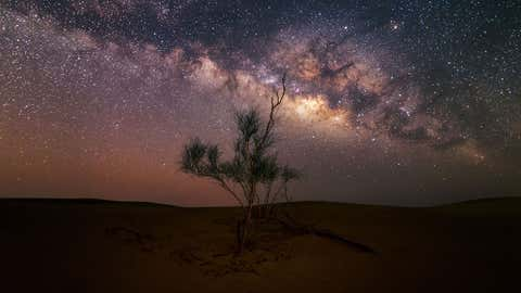 These stunning shots of the Milky Way taken from a dusty desert will take your breath away. The twinkling stars light up the sky over the rolling sand dunes, creating a beautiful ethereal glow. (Sebastian Tontsch/Caters News)