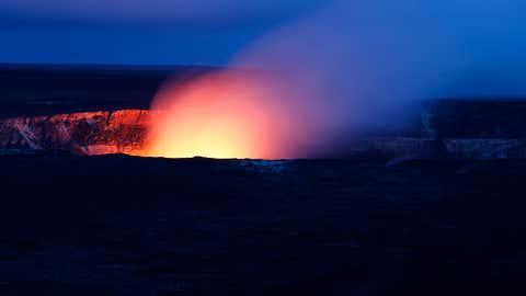 Close up of Halema'uma'u at night in Volcanoes National Park, Hawaii. (Michael Szoenyi/National Park Service)