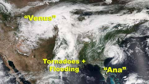 Winter Storm Venus, Tropical Depression Ana, and severe thunderstorms in the Plains states are shown in this satellite image from the Suomi NPP satellite on May 10, 2015 at 2:15 p.m. EDT.