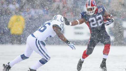 Fred Jackson #22 of the Buffalo Bills stiff-arms Kelvin Hayden #26 of the Indianapolis Colts at Ralph Wilson Stadium on Jan. 3, 2010, in Orchard Park, N.Y.  (Rick Stewart/Getty Images)