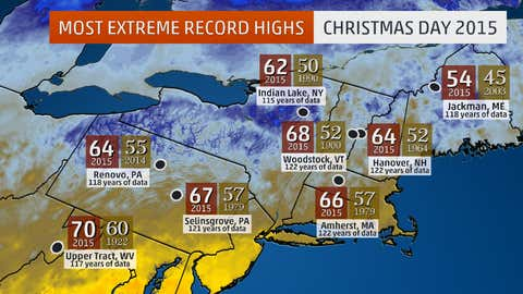 Selected record high temperatures in the Northeast on Dec. 25, 2015.