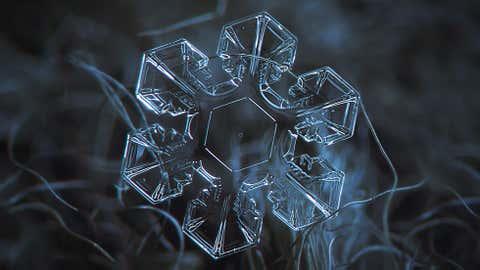 Medium-size snowflake, around 4 mm, taken in January 2013, Moscow. (Alexey Kljatov)
