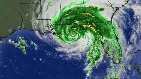 This radar/satellite composite shows Hurricane Dennis nearing landfall along the U.S. Gulf Coast on July 10, 2005.