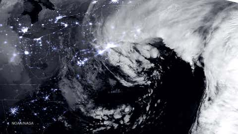 A combination of the day-night band and high resolution infrared imagery from the Suomi NPP satellite shows the historic blizzard near peak intensity as it moves over the New York through Boston Metropolitan areas at 1:45 am EST on January 27, 2015.