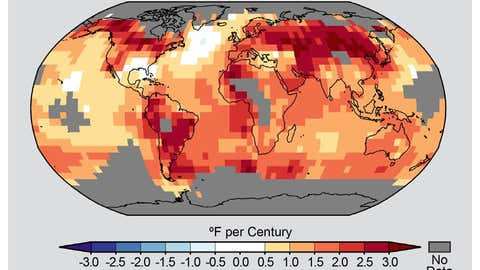 A global map of observed trends in temperature from 1900 to 2012. (Provided/NOAA)