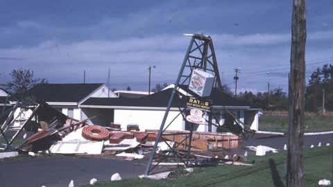 Damage in western Washington from the Columbus Day storm of 1962.