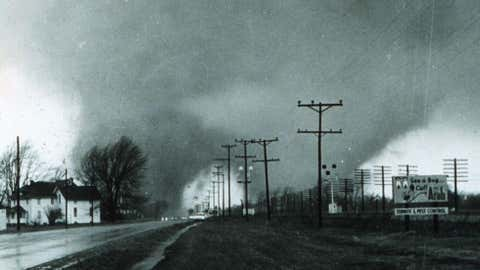 """This """"double tornado"""" destroyed the Midway Trailer Park, on U.S. Route 33, in Dunlap, Indiana, on Apr. 11, 1965.  (NOAA/Paul Huffman)"""