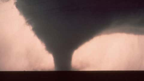 Photo of the Seymour, Texas tornado on Apr. 10, 1979.  From the same parent supercell, this tornado preceded the Wichita Falls tornado by about one hour.  (Photo credit:  NSSL)