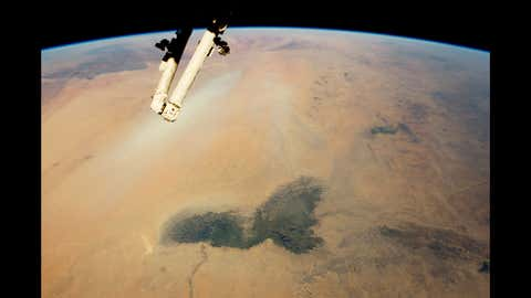 Lake Chad and a Bodele Dust Plume, Sahara—Expedition 42: February 2, 2015