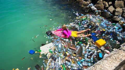 Filmmakers have taken some eye-opening footage of plastic waste washed up on the stunning beaches of the Maldives. Filmmaker Alison Teal from Hawaii was shocked the see the amount of plastic waste which washed up on the normally idyllic white shores, while she was staying in the Maldives. Accompanied by Australian photographer Mark Tipple and his colleague Sarah Lee, the group took these astounding images and footage to document the luxury destinations waste problem. (Alison's Adventures/Caters News Agency)