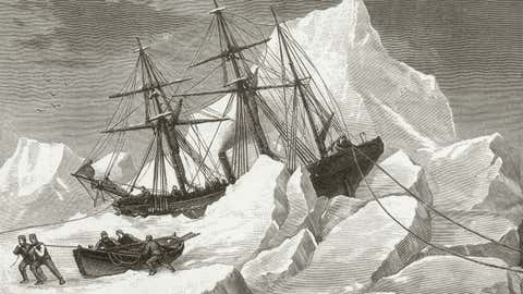 The H.M.S. Intrepid, trapped in pack ice in Baffin Bay, circa 1853. Captained by Sir Francis Leopold McClintock, the ship was on a mission to find the 1845 expedition of Sir John Franklin, which disappeared during a search for the Northwest Passage. (Photo by Hulton Archive/Getty Images)