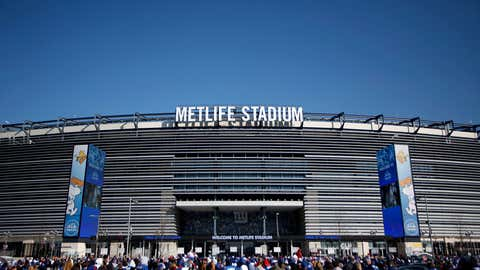 Fans lines up at a rally to celebrate the New York Giants' Super Bowl victory at MetLife Stadium on February 7, 2012 in East Rutherford, New Jersey.  (Jeff Zelevansky/Getty Images)