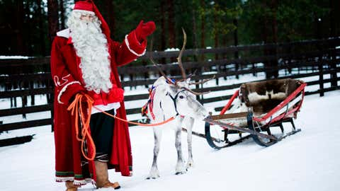The 'official' Santa Claus Village is located in the arctic circle in Lapland, offering visitors the opportunity to meet this legendary gift giver. (JONATHAN NACKSTRAND/AFP/Getty Images)