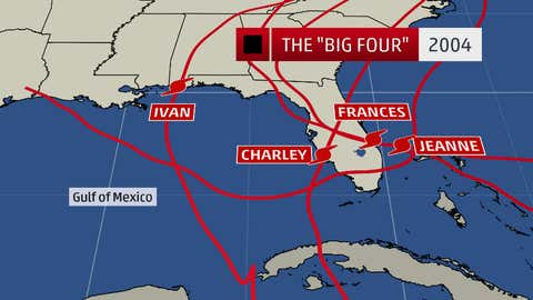 Traces of four hurricanes landed directly in areas of Florida in August-September 2004.