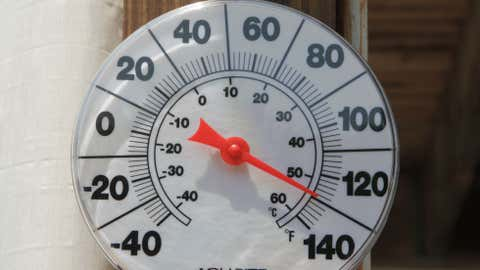 A sun-exposed thermometer reads 129 degrees.