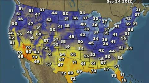 Observed lows on Monday, Sept. 24, 2012