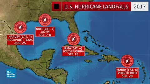 The four hurricanes that made U.S. landfall in 2017.