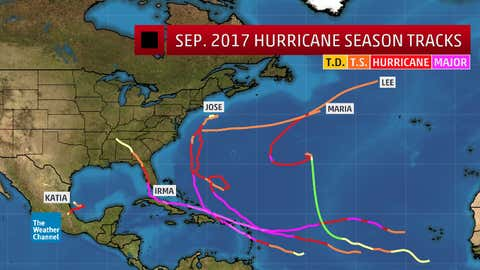 September 2017 Atlantic named storm (all hurricanes) tracks. Note Irma first became a tropical storm on August 30, then intensified rapidly into a hurricane on August 31.
