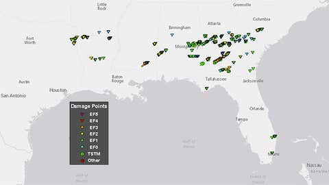 Tornado points (triangles) and thunderstorm wind damage points (dots) in the January 21-23, 2017 tornado outbreak. (NOAA/NWS)