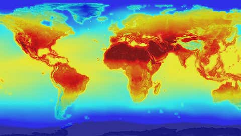 The new NASA global data set combines historical measurements with data from climate simulations using the best available computer models to provide forecasts of how global temperature (shown here) and precipitation might change up to 2100 under different greenhouse gas emissions scenarios. (Photo Credit: NASA)