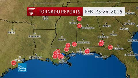 Preliminary tornado reports from Feb. 23 through early morning Feb. 24, 2016. (NOAA/NWS/SPC)