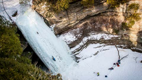 Located in Starved Rock State Park, Starved Rock Lodge provides guided hikes every Saturday and Sunday from December to March to see frozen landscapes, waterfalls and even American bald eagles. Professional ice climbers often come to the area to climb some of the frozen waterfalls. (Kathy Casstevens)