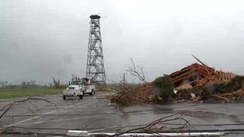 The radome and radar from WAFF-TV in Huntsville, Alabama, was gone from its tower, and the nearby Bethel Church of Christ was destroyed by a tornado on Apr. 27, 2011. (Photo used with permission: WAFF-TV)