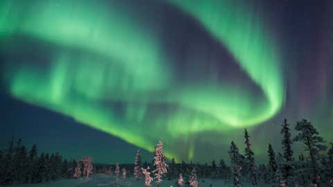 One of the best places to see the Northern Lights because of its proximity to the magnetic north, the Swedish Lapland is a vast area of Arctic plains, forests, mountains, glaciers, lakes and rivers. The Northern Lights appear around the beginning of September (Kiruna) to around the end of March all over Swedish Lapland. (Thinkstock/Joe Rainbow)