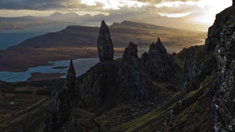 The sun sets over Basalt pinnacles known as 'The Old Man Of Storr,' that make up part of the Trotternish Peninsula and stand over the Sound of Raasay on the Isle of Skye in Scotland, United Kingdom. (Dan Kitwood/Getty Images)