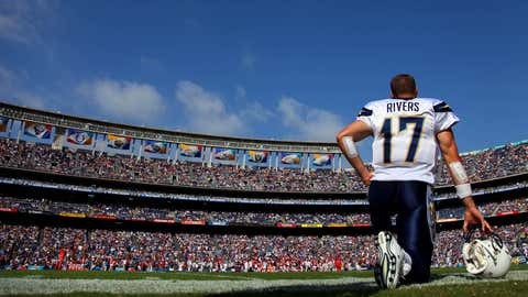 Quarterback Philip Rivers #17 of the San Diego Chargers looks on from the sidelines against the Kansas City Chiefs during their NFL Game on September 25, 2011 at Qualcomm Stadium in San DIego, California. (Donald Miralle/Getty Images)