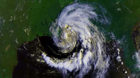 Tropical Storm Beryl at 8:39am CDT on Aug. 9, 1988. (Image: NOAA)