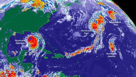 Infrared satellite image of four hurricanes at once in the Atlantic Basin on Sep. 26, 1998. (Credit: NOAA)