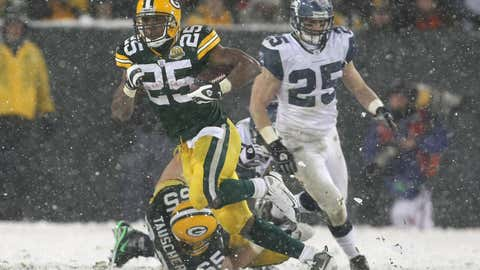 Running back Ryan Grant #25 of the Green Bay Packers runs the ball in the fourth quarter against the Seattle Seahawks during the NFC divisional playoff game on Jan. 12, 2008, at Lambeau Field in Green Bay, Wisc.  (Jonathan Daniel/Getty Images)
