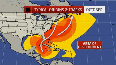 Typical named storm tracks and origins in October. Darker orange/red areas indicate most likely formation/track areas.