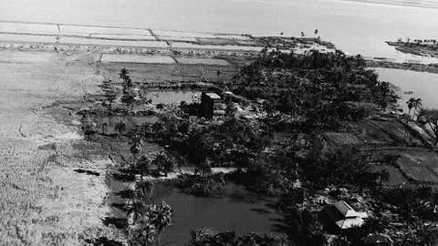 Aerial view of the coastal area of Patuakhali littered with dead cattle after it was hit by the tropical cyclone in November 1970. Credit: Express Newspapers/Getty Images