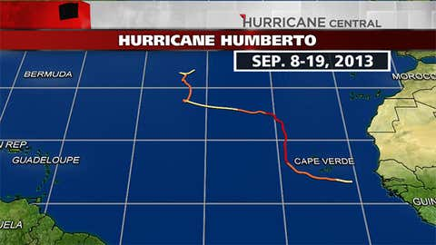 Track history of Hurricane Humberto from Sep. 8-19, 2013.  Note: Humberto was a remnant low from early AM on Sep. 14 through early AM on Sep. 16.
