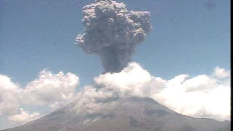 The Popocatepetl volcano, 35 miles outside of Mexico City, sent plumes of ash and smoke into the air Monday, June 16. Cenapred, which monitors the volcano, recorded the eruptions on its webcams. (Courtesy: Cenapred)