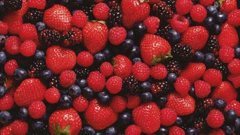 Berries: Blueberries and blackberries are more than 85 percent water while strawberries are 92 percent water, according to data from Bowes and Church's Food Values and the University of Kentucky. Read on for more of Bowes and Church's super-hydrating foods to help you beat the heat. (Thinkstock)
