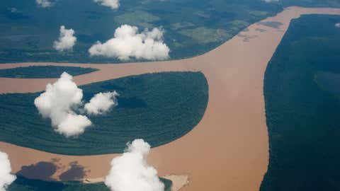 An aerial view of the Amazon river, Amazonas state, Brazil on December 12, 2013. (CHRISTOPHE SIMON/AFP/Getty Images)