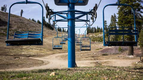 Chairlifts sit idle at the closed Donner Ski Ranch, March 21, 2015 in Norden, California. Many Tahoe-area ski resorts have closed due to low snowfall as California's historic drought continues. (Max Whittaker/Getty Images)