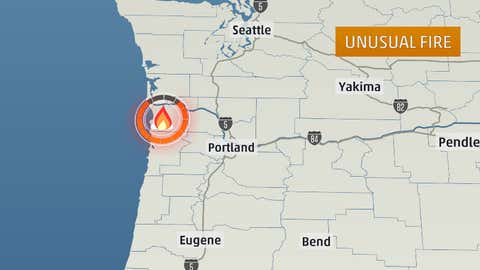 Location of wildfires on Jan. 24, 2014 near Arch Cape, Ore.
