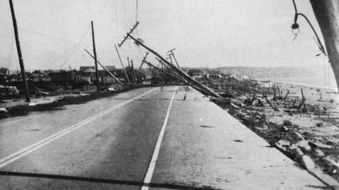 Island Park, R.I. is heavily damaged by the Long Island Express hurricane of Sep. 21, 1938.