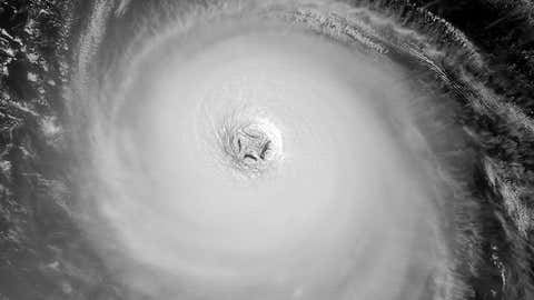 This image was taken from satellite on September 13, 2003 when Isabel was strengthening back to Category 5 status. Several pinwheel shaped features can be seen spinning inside the eye.