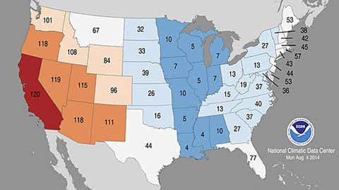 January through July 2014 statewide average temperature rankings. Lowest/highest numbers correspond to the states which experienced among their coolest/warmest January through July periods on record. NCDC records date to 1895. (NOAA/NCDC)