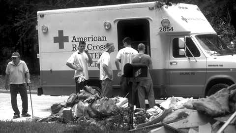 The American Red Cross assists flood victims in Houston on June 19, 2001, following Tropical Storm Allison. (Image credit: Andrea Booher/FEMA News Photo)