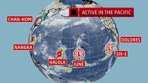 Pacific Basin satellite image on the afternoon of July 12, 2015, U.S. EDT, showing six tropical cyclones at once in the basin.